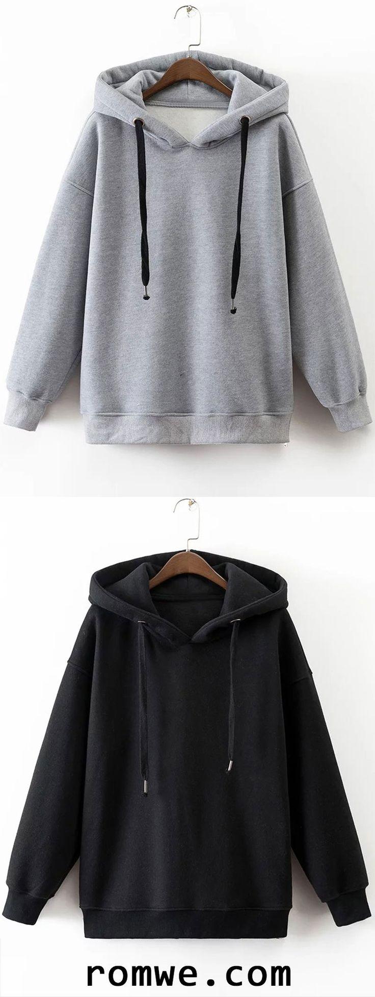 Drawstring Side Zipper Hooded Sweatshirt