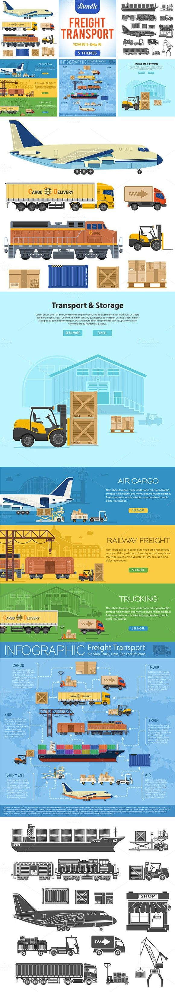 Freight Transport. Business Infographic