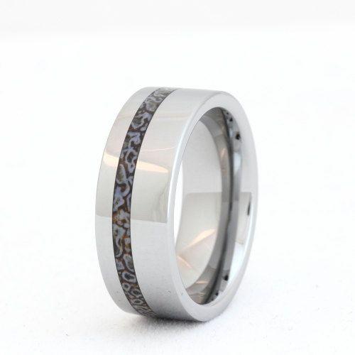 tungsten ring dinosaur bone wedding band unique mens ring with fossil - Dinosaur Bone Wedding Ring