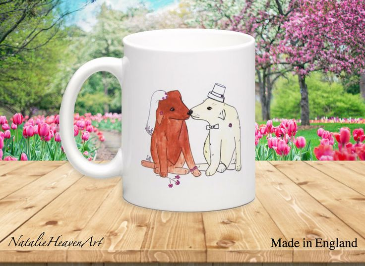 Dog Wedding Mug, Wedding Present, Bride to Be Gift, Bridal Shower Gift, Anniversary Gift, Cute Dog Lover Gift, Marriage Mug, Made in England by NatalieHeavenArt on Etsy