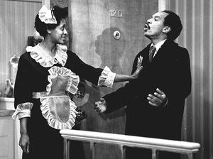 Actress Marla Gibbs (as maid Florence Johnston) and actor Sherman Hemsley (as her boss, George Jefferson), appear together in the Mr. Piano Man episode of The Jeffersons.