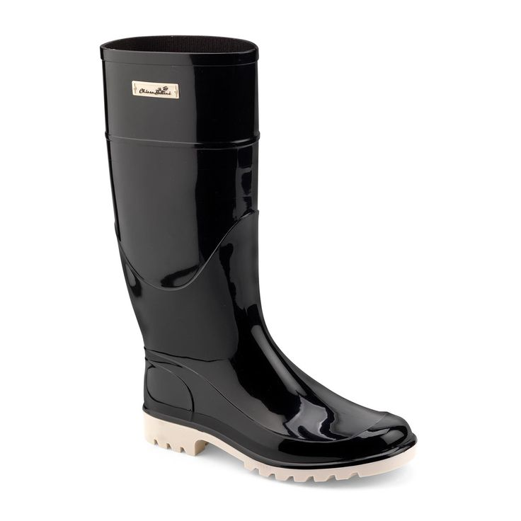 Classic Wellington boots in two colour bright PVC with a coloured rubber plate