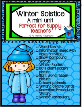 This is a mini unit that can be on the first day of Winter or anytime thereafter. It has an information page with cloze activities that explains the tradition and celebration behind the Winter Solstice. I use this unit as part of my traditions and celebrations unit in social studies. **This unit is a part of a larger