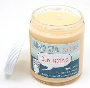 Old Books — Book Lovers' Scented Soy Candle — by Frostbeard on Etsy