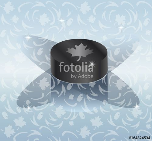 Vector: Hockey logo design. Hockey pack on abstract ice background for Ice Hockey World Championship poster, flyer, banner graphic design. Vector
