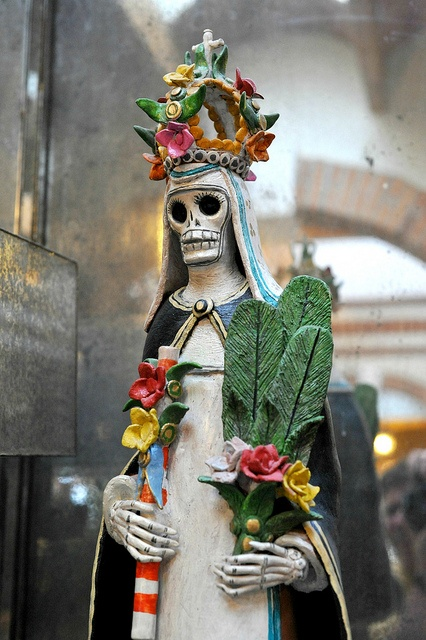 A skeleton nun with a flower crown. Seen in San Miguel de Allende, Guanajuato, Mexico
