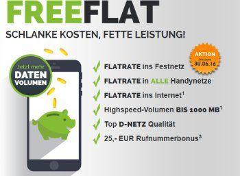 Freenet: Allnet-Flat mit GByte-Flat im Vodafone-Netz für 9,95 Euro https://www.discountfan.de/artikel/tablets_und_handys/freenet-allnet-flat-mit-gbyte-flat-im-vodafone-netz-fuer-9-95-euro.php Via Freenetmobile ist jetzt im guten Vodafone-Netz eine Telefon-Flat in alle deutschen Handy- und Festnetze inklusive GByte-Internet-Flat für 9,95 Euro im Monat zu haben. Für Aufpreis von nur zwei Euro gibt es eine SMS-Flat und ein weiteres GByte Datenvolumen dazu. Der Tarif ist opt