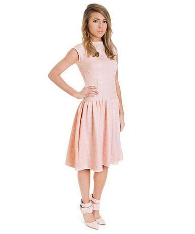 Kathryn - pink houndstooth drop waist, knee length dress.