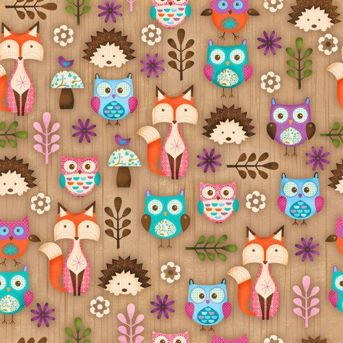 Woodland critters multi animal fox print by spectrix for Fox print fabric