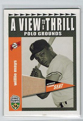 2002 02 WILLIE MAYS TOPPS SUPER TEAMS A VIEW TO A THRILL STADIUM SEAT RELIC