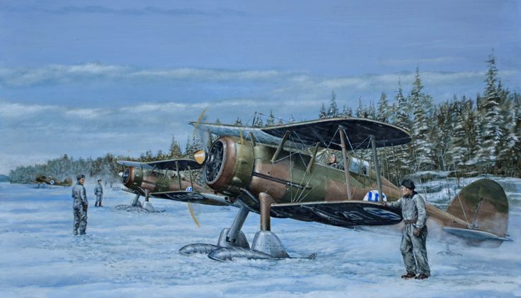 Gloster Gladiators of No. 14 Squadron preparing for flight during Winter War in March 1940.