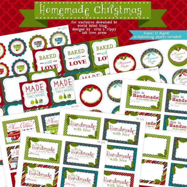 Free Printable Labels for Christmas baked goods by @Erin Rippy - Ink Tree Press