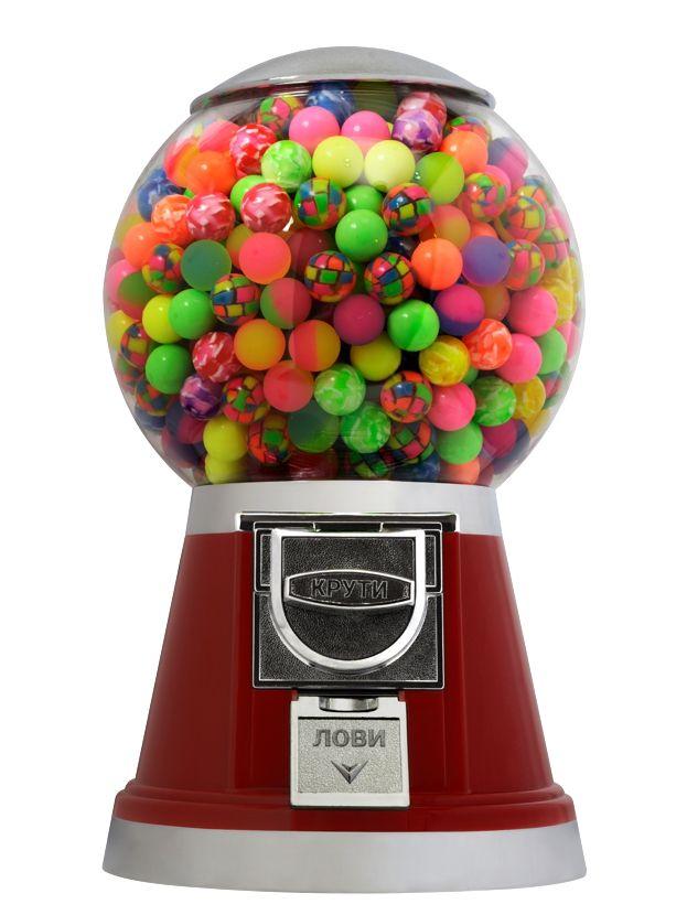 Торговый автомат Глобус компании Global Gumball предназначен для продажи игрушек в капсулах, мячей прыгунов, марблс, порционных конфет или жевательной резинки.  В базовую комплектацию входит монетоприемник от одной до шести монет (на выбор), один из трех дозаторов (на выбор). В комплекте один трубчатый ключ.  Торговые автоматы Глобус имеют семь стандартных цвета корпусов: красный, желтый, синий, белый, фиолетовый, оранжевый и зеленый.