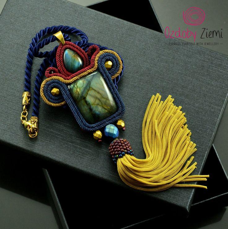 Statement soutache necklace 'Pharaoh's treasure', tassel necklace, labradorite necklace, gold soutache necklace, navy blue gemstone necklace by OzdobyZiemi on Etsy
