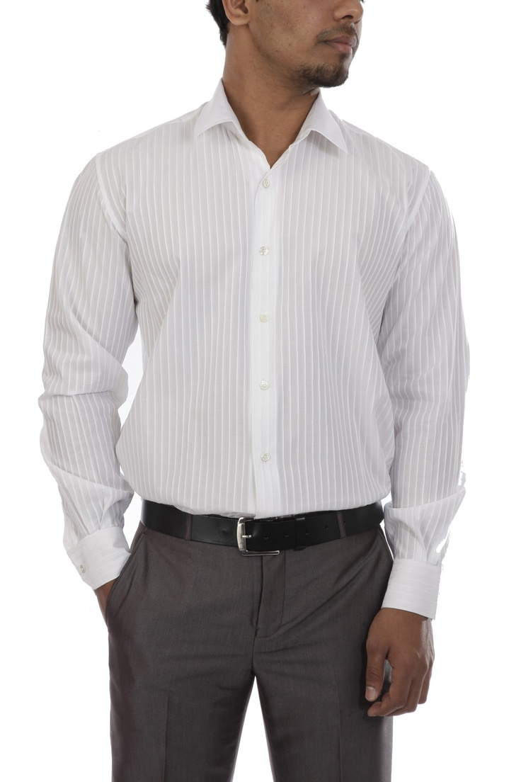 White Stripe Cotton Shirt by Lokesh Ahuja