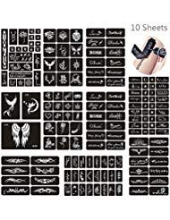 Jurxy 10 Blatt Henna Tattoo Schablonen Glitter Temporäre Tätowierung Schwarz S…
