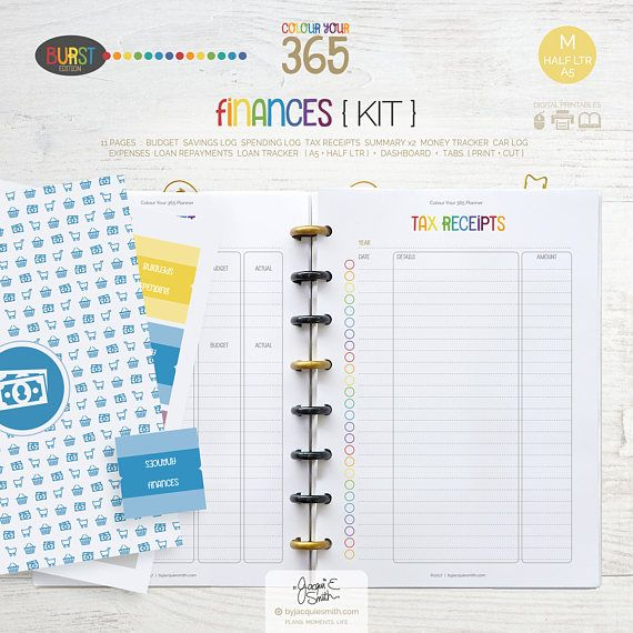 Printable Planner Finance Page Inserts  A5  Half Letter