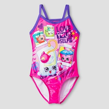 Shopkins Girls' One Piece Swimsuit - Diva Pink : Target