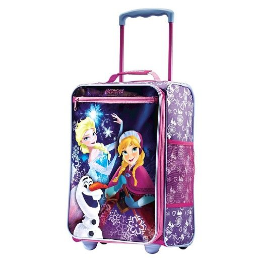 """Travelling just got a lot more fun with the 18"""" American Tourister Disney Frozen suitcase. This rolling suitcase has a retractable for pulling ease. This bag also has a smart strap on the back for easy transportation. The zippered outer pocket is perfect for books and other last minute items. The outer side mesh pocket is great for water bottles. The interior compartment will keep all your belongings secure and safe."""