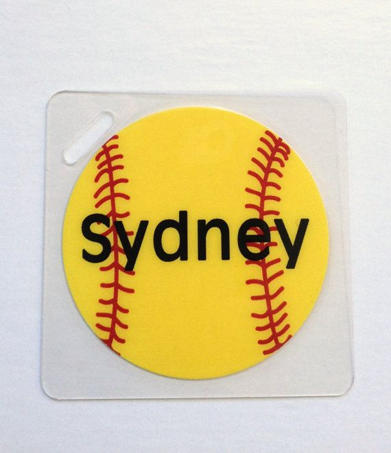 Softball Bag Tag Personalized Softball Gift Softball by Toddletags, $5.95
