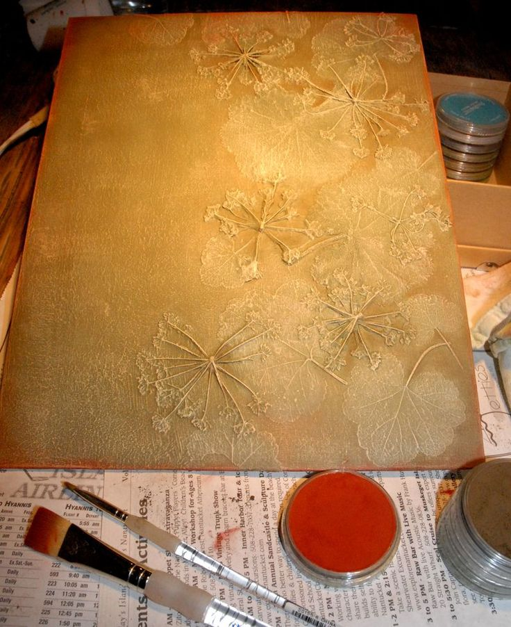 "Organic Nature Inspired Mixed Media Painting Tutorial - Place organic material (leaves, flowers etc) on a canvas and coat with Matte Medium. Once dry paint with a darker color of your choice and let dry. Dry brush on a lighter color to pick up the raised ""highlights"" of the plants."
