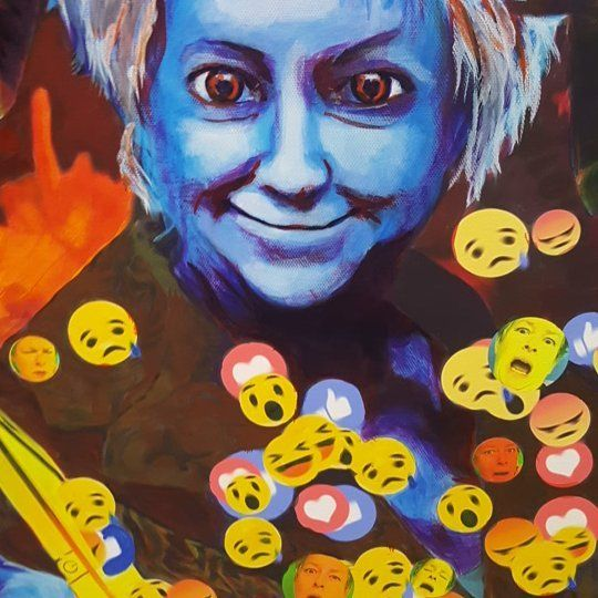 """What gives you the """"blue devils"""" aka """"the blues""""? Sometimes it helps to share.  For me it's the continuous propaganda of the talking boxes we turn to for information entertainment and escape. """"Revelations?"""" work in progress #bluedevil #deception #depression #politicalart #socialcommentary #artistofinstagram #instart  #artist #painting #emoji #Selfie #selfportrait #media #fakenews"""