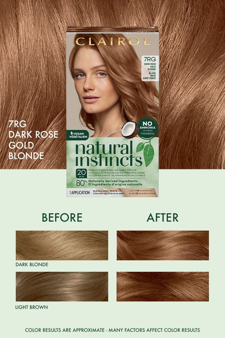 Natural Instincts 7rg Dark Rose Gold Blonde Before And After Natural Hair Color Chart Rose Gold Blonde Clairol Hair Color