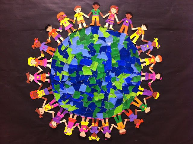 Paint newspaper in different shades of green and blue, cut the painted paper into strips, have kids tear the strips into little pieces, and then glue them onto a circle! So beautiful and it would be great for Earth Day because you're reusing newspaper!