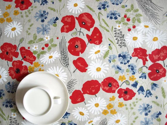 Linen tablecloth natural linen poppy meadow red by Dreamzzzzz, $25.00