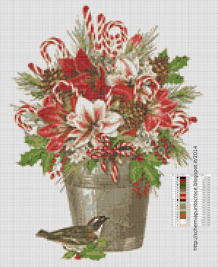 Add candy canes to flower arrangements...nice idea! Schemi a punto croce gratuiti per tutti: Schemi DIFFICILI