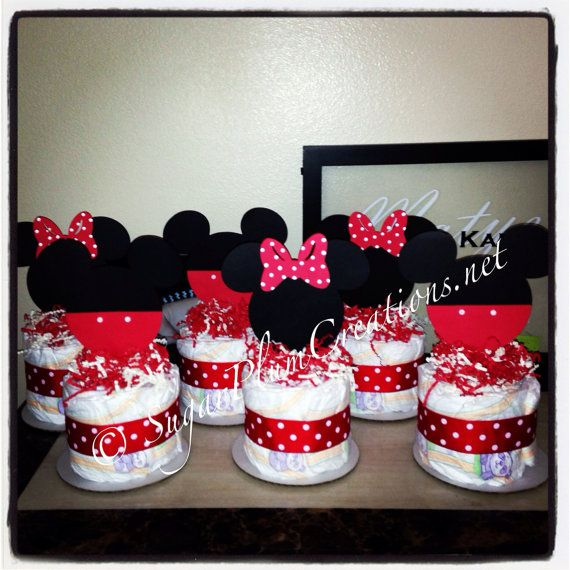 Set of 6 Minnie and Mickey Mouse Diaper Cake Minis