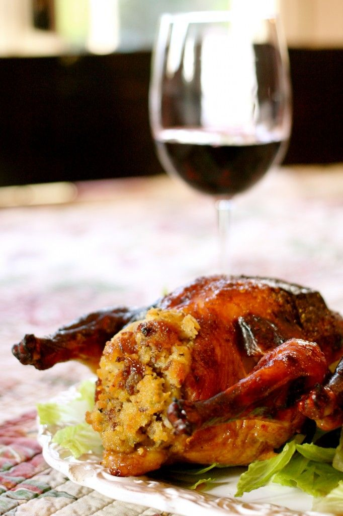 Sweet and Spicy Cornish Game Hens With Cornbread Stuffing FOR SIX #Thanksgiving #Christmas