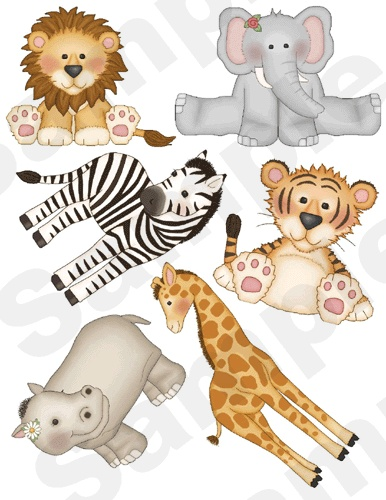 JUNGLE ZOO ANIMALS wall decals zebra lion nursery baby kids room stickers decor.