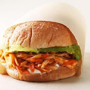 Eating Well - Light Lunches at 350 calories: Chicken Sandwiches, Lunches Recipes, Bbq Sauces, Bbq Chicken, Sandwiches Recipes, Lights Lunches, Healthy Recipes, Healthy Lunches, Barbecue Sauces