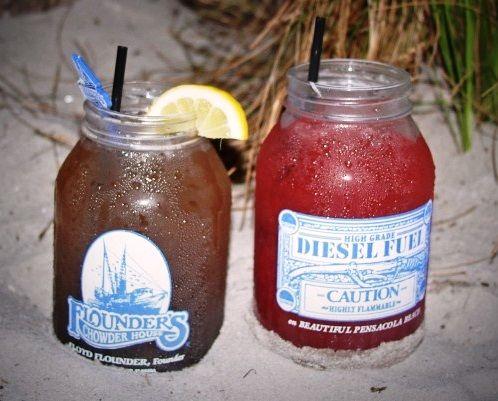Diesel Fuel Drink Mason Jars (Cranberry & Original): Flounders Restaurant... Blue Curacao... gin... orange juice... peach schnapps... vodka...
