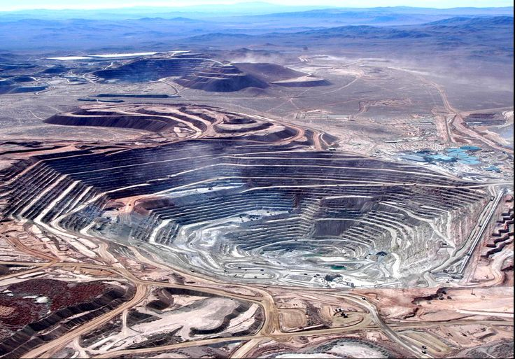 "Chile - Chuquicamata or ""Chuqui"" as it is more familiarly known, is by excavated volume the largest open pit copper mine in the world. It is located in the north of Chile, just outside Calama & is 770 miles north of the capital, Santiago."