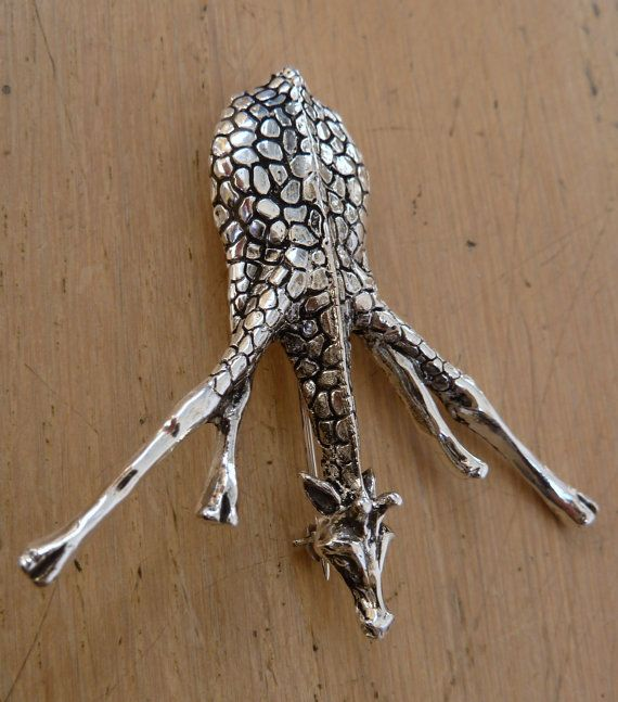 Sterling Silver Giraffe Pin-Giraffe Drinking Water-Brooch