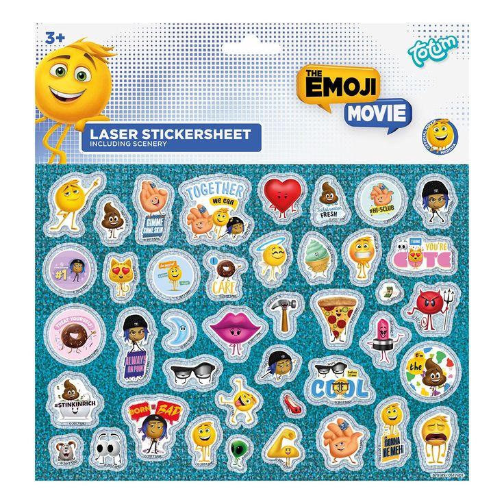 Creëer je eigen Emoji avonturen met deze holografische stickers. De set van Totum bevat meer dan 40 stickers van alle Emoji figuren. Plak ze op de bijgeleverde achtergrond om je creatie helemaal af te maken!Afmeting: 19 x 14 cm - Totum Emoji Laser Stickers