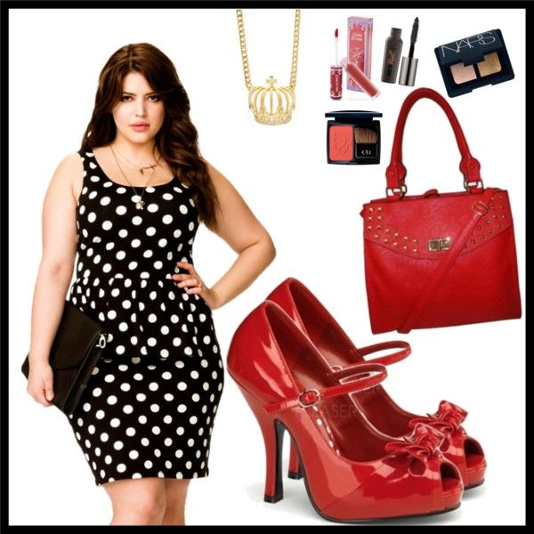 """""""Power Woman - Polka Dots and Red Accessories"""" by shoemegorgeous on Polyvore"""