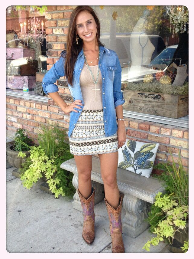 Taupe Aztec Skirt- I love the outfit, but swap out those boots for some toms or a cute heeled bootie.