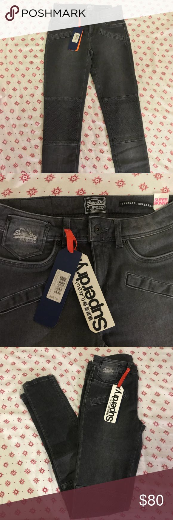 Vintage Superdry Super Skinny Biker Jeggins Brand new with tag, no flaws. It's in a biker style. It has these patches on the knee and zippers on the back of the bottom of the jeans. They're grey and super stretchy! Superdry Jeans Skinny