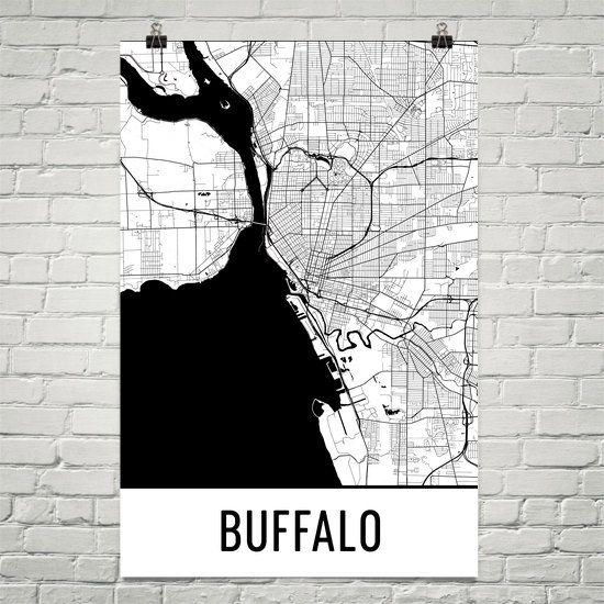 Buffalo Map, Buffalo Print, Buffalo Art, Buffalo NY Poster, Buffalo Wall Art, Map of Buffalo, Buffalo Gift, Birthday, Decor, Modern, Art