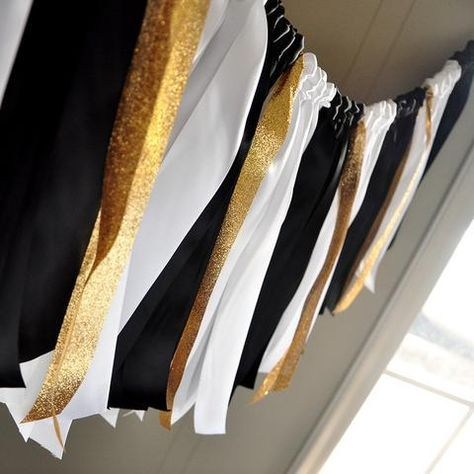 Graduation Party Decorations. Made in 1-3 Business Days. Black, White, and Gold Ribbon Garland