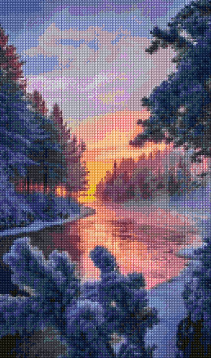 Winter Sunset Cross Stitch pattern PDF - Instant Download! by PenumbraCharts on Etsy