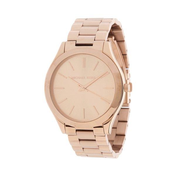 Michael Kors Women's MK3197 'Slim Runway' Rosetone Bracelet Watch