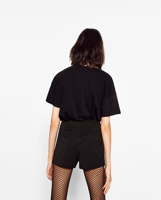 Image 4 of HIGH RISE PRESS STUD SHORTS from Zara