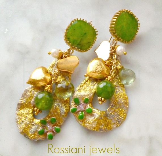 Color drops, green - semi precious stones and brass - Rossiani Jewels - Italian handmade jewels - Made in Italy