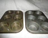 Ekco Vintage Pair Muffin Tin Pans Home Decor Bake Ware Cook Ware Hanging Tins Farm House Decor