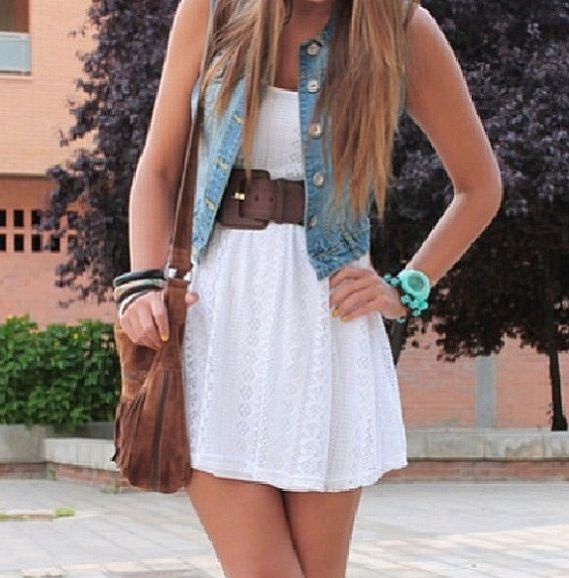 Cute Simple White Dress Outfit With Jean Jacket Vest And Brown Belt My Style Dresses