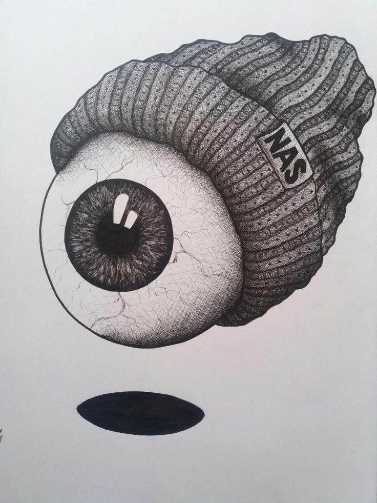 Eyeball with beanie fineliner illustration